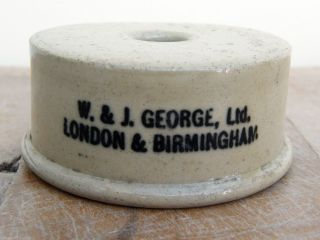 A Vintage Stoneware Bunsen Burner Stand Support W J George Ltd Advertising Sign photo