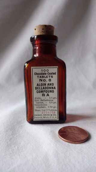 Vintage Medicine Apothecary Belladonna Glass Brown Bottle By Parke Davis No.  8 photo