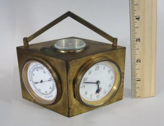 Antique Charles Hour Brass Desktop Weather Station Clock Compass Barometer, photo