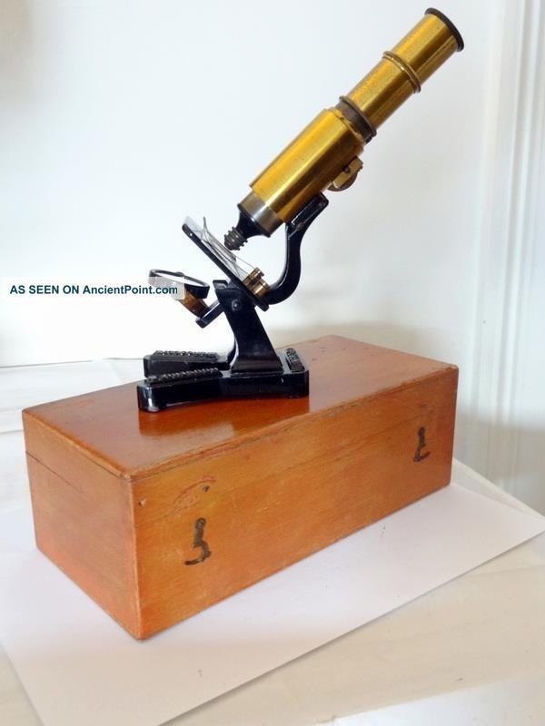 Antique Brass Compound Desk Microscope Tri Lens R & P Focus W/ Slide & Case Fwo Other Antique Science Equip photo