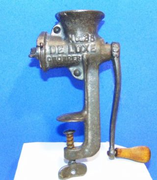 Small Food Grinder Wood Handle Crank Antique Vtg De Luxe Home Decorative Kitchen photo