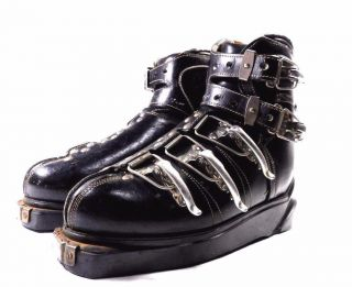 Mid Century Mod Era Nordica Ski Black Leather Metal Clamps Boots Vtg C 1950s - 60s photo