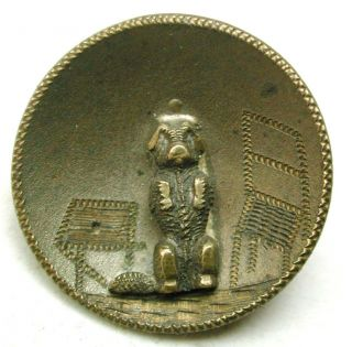 Antique Brass Cup Button Poodle Sitting Up W/ Etched Accents 11/16