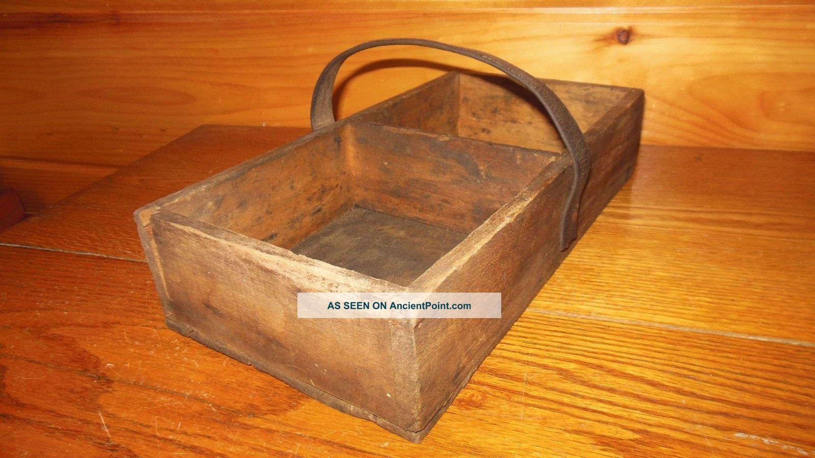 Vintage Wooden Primitive Tool Box Carry Tote Old Farm Tool
