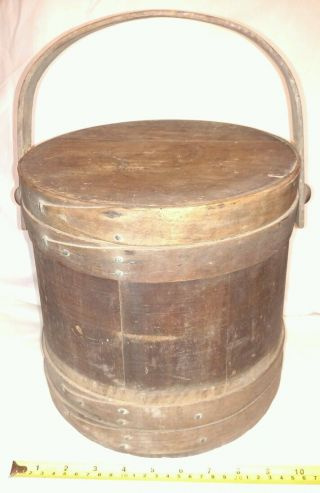 Antique Firkin Banded Sugar Bucket With Lid Wood Handle photo