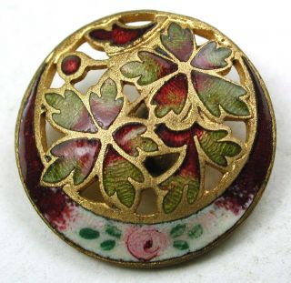 Antique French Enamel Button Fall Color Leaves & Hand Painted Rose - 11/16