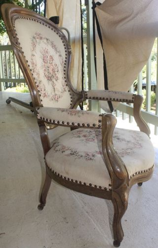 Antique Walnut Victorian Parlor Chair Upholstered Seat On Casters photo