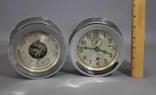 Vintage 1960s Chelsea Ships Cabin Clock,  Thermometer & Barometer,  Nr photo