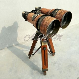 Vintage Binoculars With Wooden Tripod Leather Covered Maritime Nauticals photo