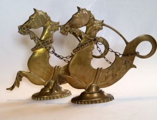 Vintage Venetian Italy Gondola Boat Brass Seahorse Horse Hippocamp Two photo