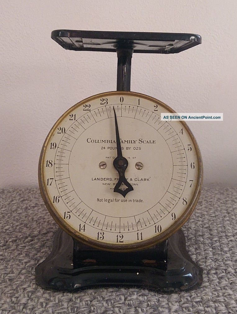 Antique 1907 Columbia Family Scale 24 Lbs Britain,  Conn.  Paint Scales photo