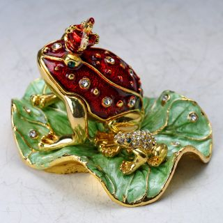 Chinese Collectable Cloisonne Inlaid Rhinestone Handwork Frog Statue D1407 photo