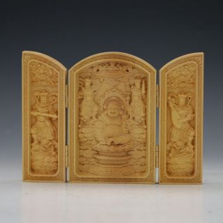 Decorated 100 Boxwood Highly Difficulty Carved Buddha Statue Folding Box photo