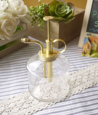 Purism Style Glass & Brass Gardening Planting Mist Water Sprayer Plant photo