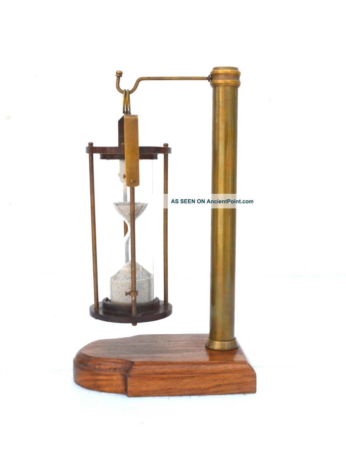 Nautical Brass Hanging Hourglass Sand Timer Wooden Vintage Collecticble Decor Compasses photo