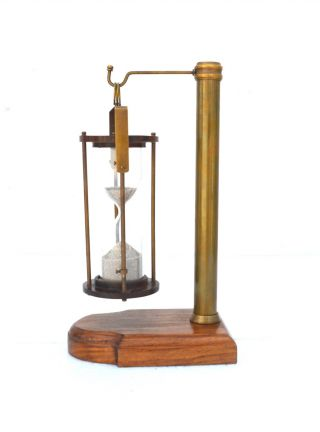 Nautical Brass Hanging Hourglass Sand Timer Wooden Vintage Collecticble Decor photo