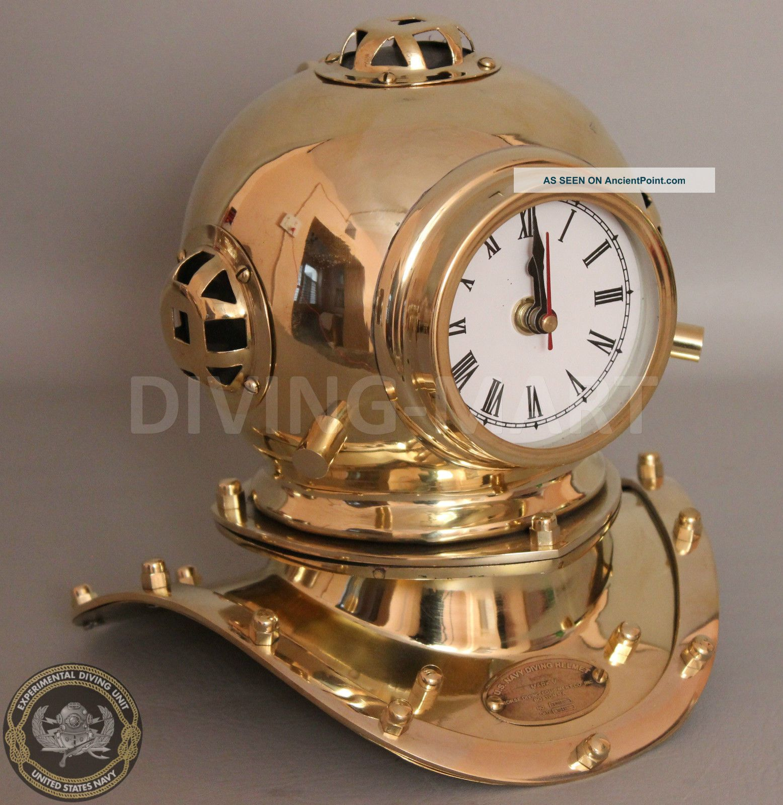 Collectible Full Brass Divers Helmet Clock Miniature Reproduction 8
