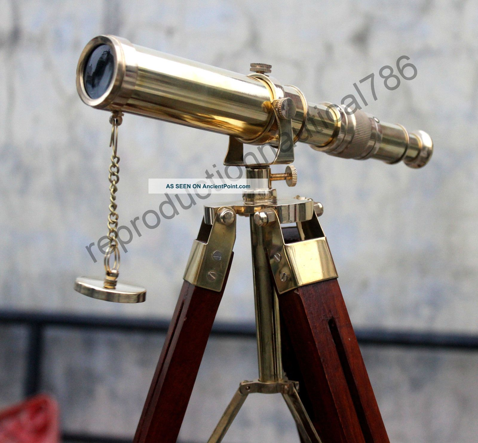 Vintage Marine Ship Master Brass Telescope With Wooden Tripod Scope Collectible Telescopes photo