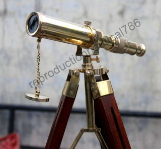 Vintage Marine Ship Master Brass Telescope With Wooden Tripod Scope Collectible photo