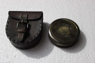 Antique Brass Poem Compass Pocket Compass Robert Frost Maritime Brass Compass photo