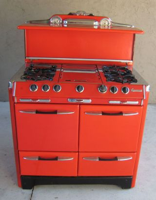 1952 1953 O ' Keefe & Merritt Red Enamel Stove Range Gas Mid Century photo