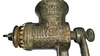 Antique Universal No.  1 Meat Grinder Cast Iron Hand Crank Wood Handle Chopper photo