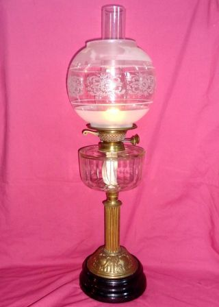 Victorian Glass Font Oil Lamp Shade & Chimney 26