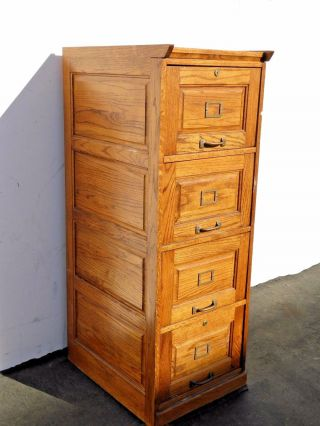 Vintage Industrial Style Solid Oak Wood Four Drawer File Cabinet French Country photo