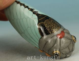 Coloured Lucky Chinese Old Porcelain Hand Carved Cicada Statue Snuff Bottle photo