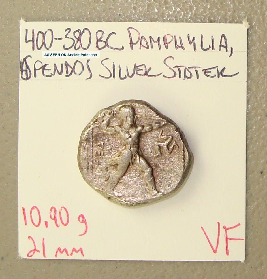 400 - 380 Bc Pamphylia,  Aspendos Wrestlers/slinger Ancient Greek Silver Stater Vf Greek photo