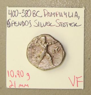 400 - 380 Bc Pamphylia,  Aspendos Wrestlers/slinger Ancient Greek Silver Stater Vf photo