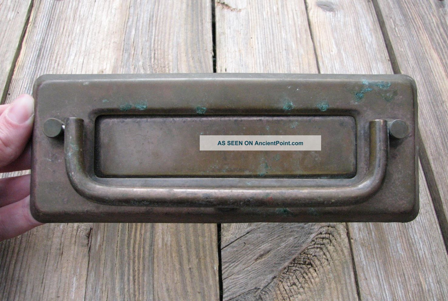 Vintage Reclaimed Brass Letter Box Plate / Door Mail Slot With Knocker Other Antique Hardware photo