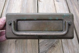 Vintage Reclaimed Brass Letter Box Plate / Door Mail Slot With Knocker photo