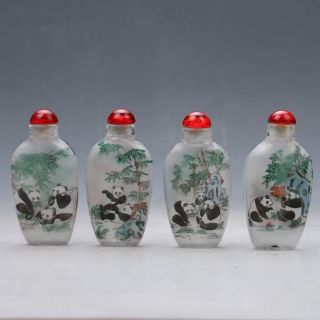 China Glass Hand - Carved Panda Snuff Bottles Z689 photo