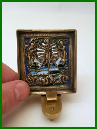 Russia Orthodox Bronze Icon The Transfiguration.  Enameled 19th.  C. photo