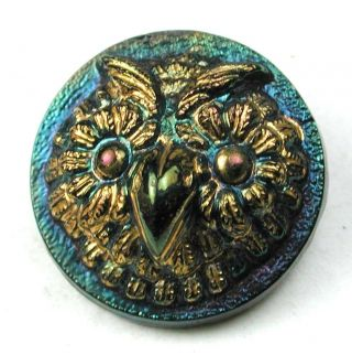 Antique Black Glass Button Detailed Dimensional Owl W/ Carnival Luster - 11/16