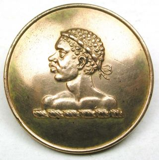 Antique Brass Livery Button - African Man In Profile - Firmin - 1