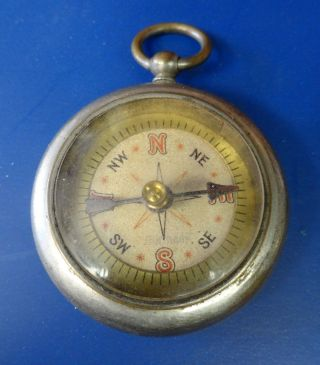 Pocket Compass Of Brass And Nickel - Made In Germany photo