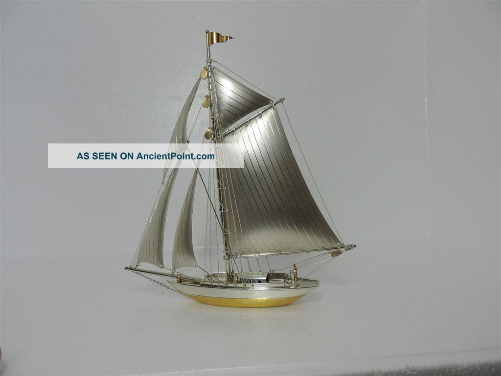 Solid Sterling Silver 950 Yacht Ship Sail Boat Ship Japan Scrap 101 Grams 3.  5 Oz Other Antique Sterling Silver photo