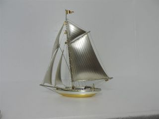 Solid Sterling Silver 950 Yacht Ship Sail Boat Ship Japan Scrap 101 Grams 3.  5 Oz photo