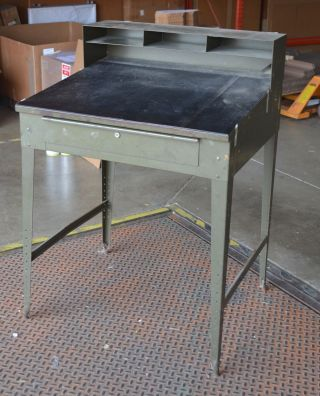 Vintage Industrial Desk Stand Up Slanted Green Metal Wonderful Patina Antique photo