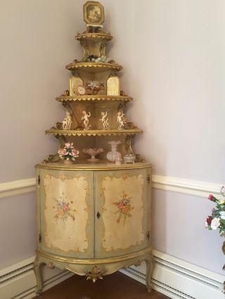 Large Romantic Painted Italian Venetian Old World Roses Corner Curio Cabinet photo