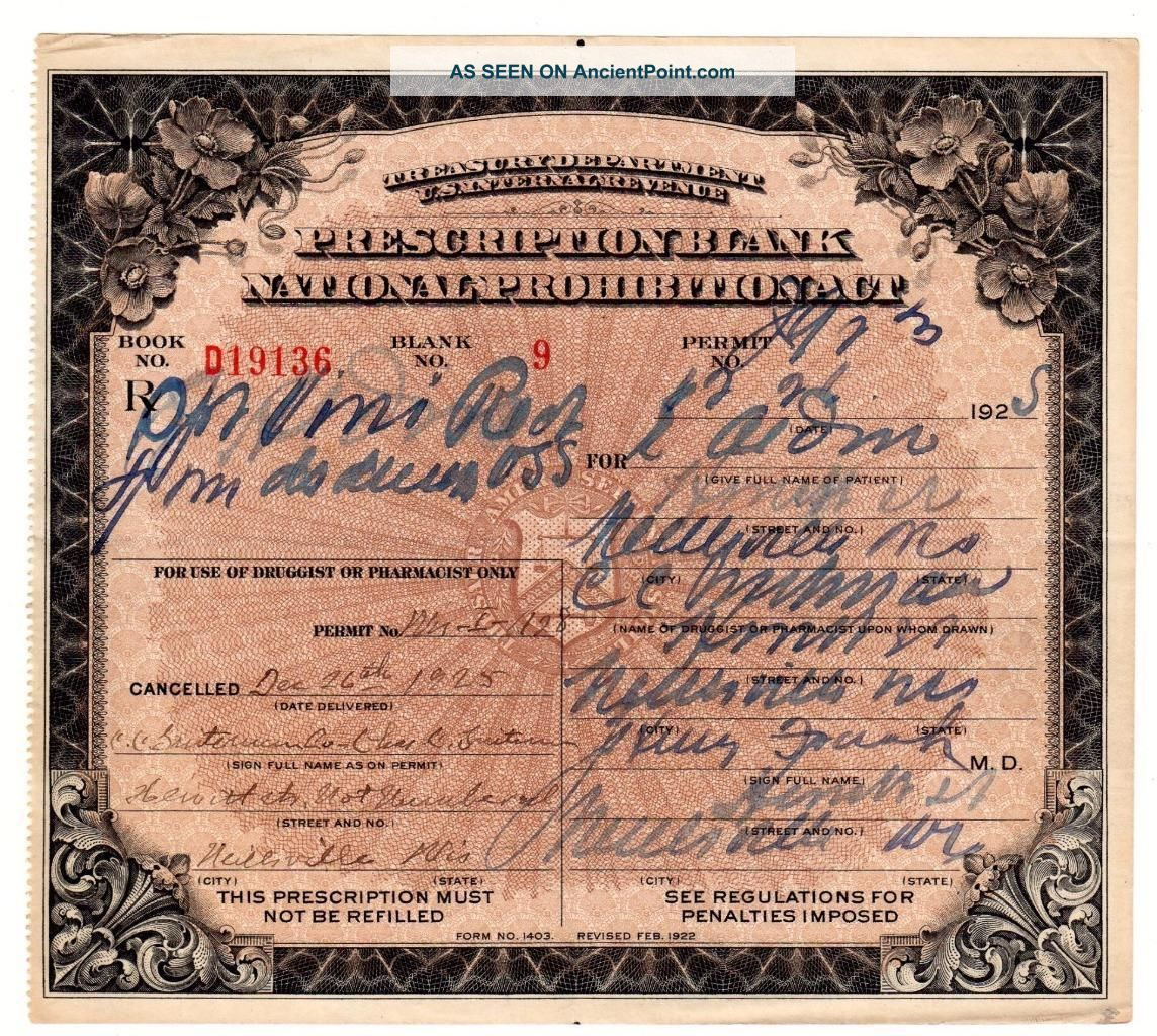 Prohibition Liquor Prescription Antique Doctor Pharmacy Distiller Bar Wisconsin Other Medical Antiques photo
