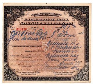 Prohibition Liquor Prescription Antique Doctor Pharmacy Distiller Bar Wisconsin photo