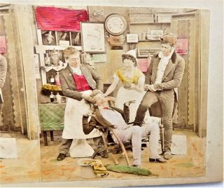 No Resrv Tooth Pulling Dentistry Victorian Stereoview Stereo Card Dentist photo