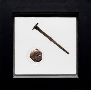 Crucifixion Period Roman Nail And A Poor Widow ' S Mite From 1st B.  C.  From Bible photo