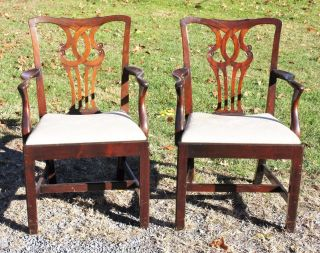 Antique Mahogany Chippendale Arm Chairs photo