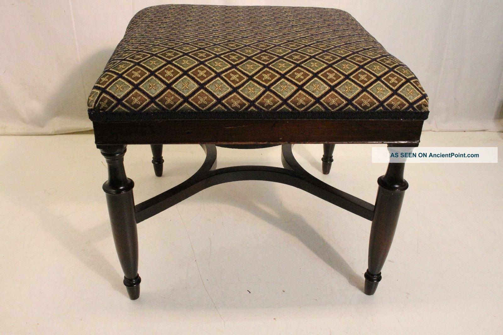 English Hepplewhite,  Mahogany Foot Stool Foot Rest Upholstery On Tope 1900-1950 photo