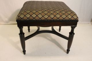 English Hepplewhite,  Mahogany Foot Stool Foot Rest Upholstery On Tope photo