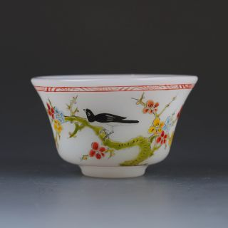 Old Beijing Colored Glaze Hand - Painted Flowers & Birds Bowl W Qianlong Mark photo